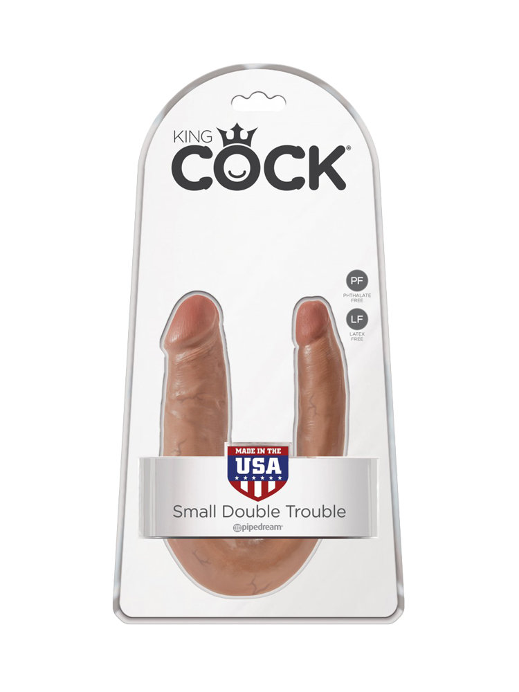 King Cock U-Shaped Small Double Trouble Caramel by Pipedream