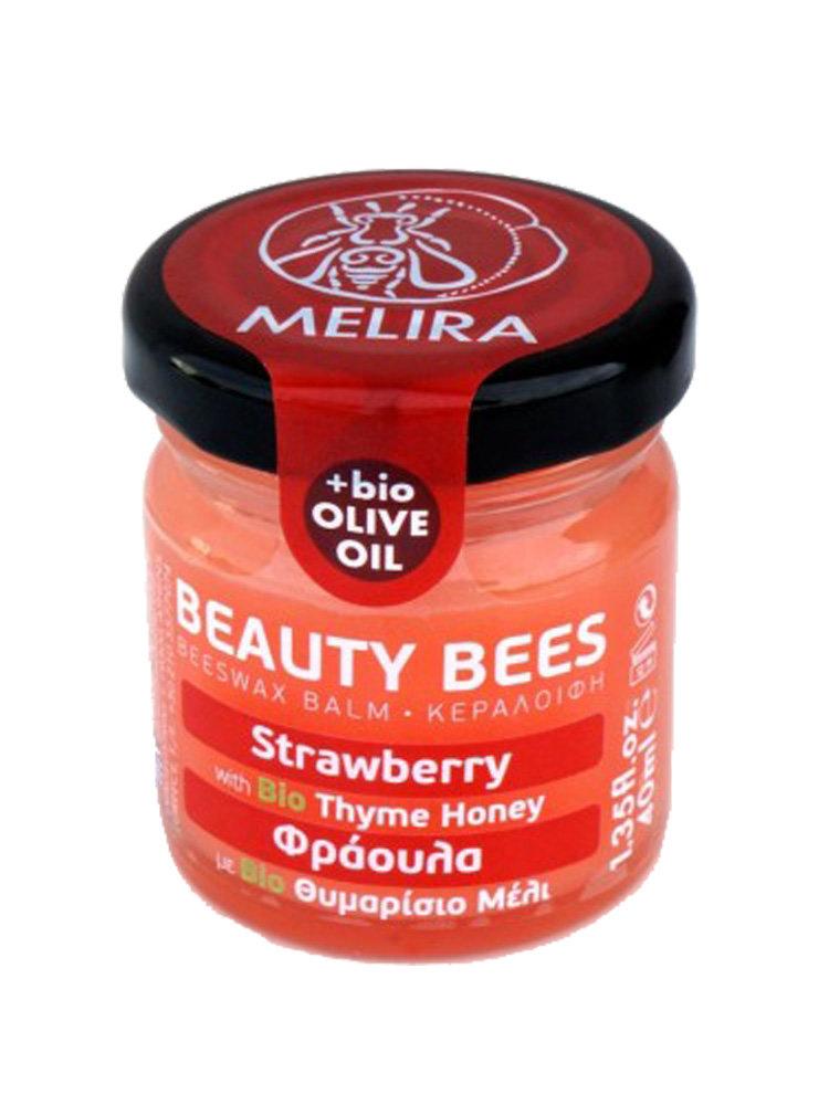 Κηραλοιφή με μέλι θυμαρίσιο και φράουλα by Melira
