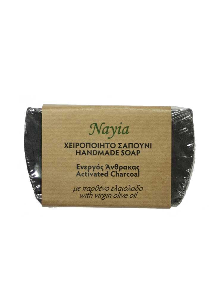 Χειροποίητο Σαπούνι ελαιολάδου με ενεργό άνθρακα 80gr Nayia