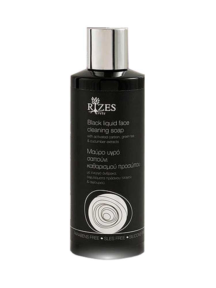 Μαύρο υγρό σαπούνι καθαρισμού προσώπου by Rizes Crete