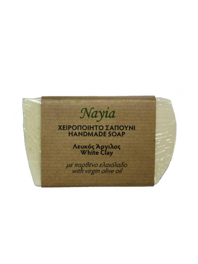 Χειροποίητο Σαπούνι ελαιολάδου με λευκό Άργιλο 80gr Nayia