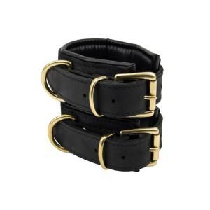 Nubuck Black Leather Slim Wrist Cuffs by Loving Joy