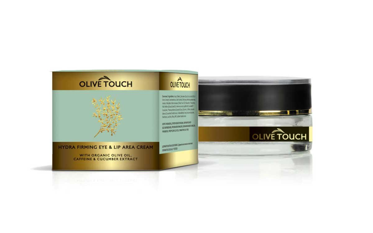 Ενυδατική Κρέμα Ματιών και Χειλιών με βιολογικό λάδι ελιάς, καφεΐνη και εκχύλισμα αγγουριού 15ml Olive Touch