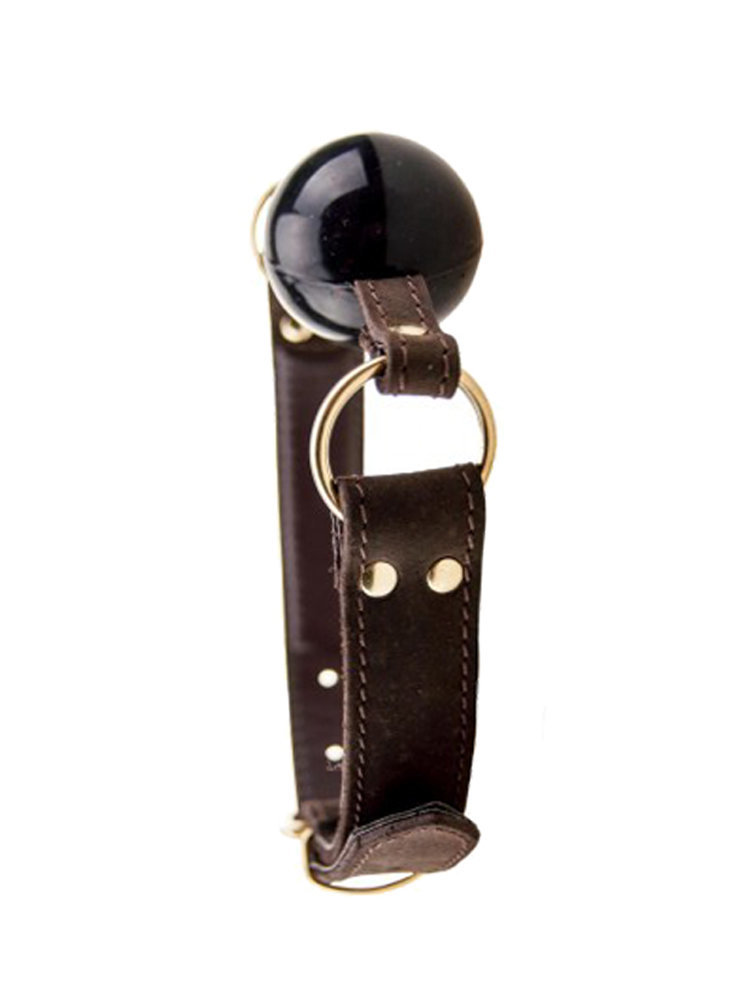 Bound Nubuck Leather Solid Ball Gag
