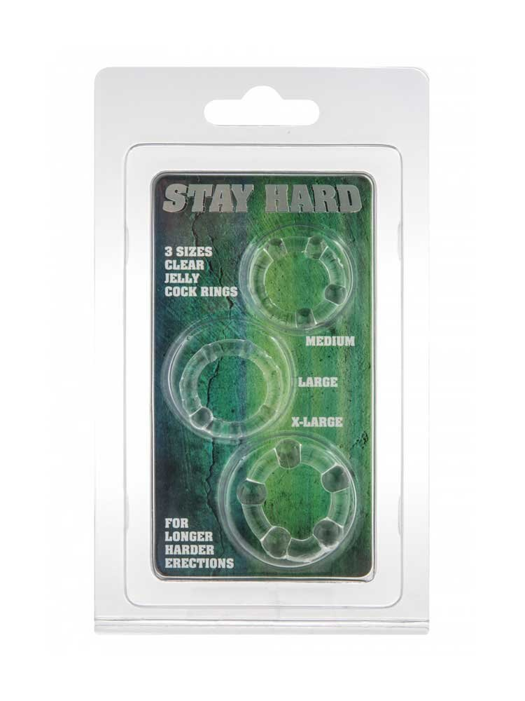 Stay Hard Rings Clear (3 set)