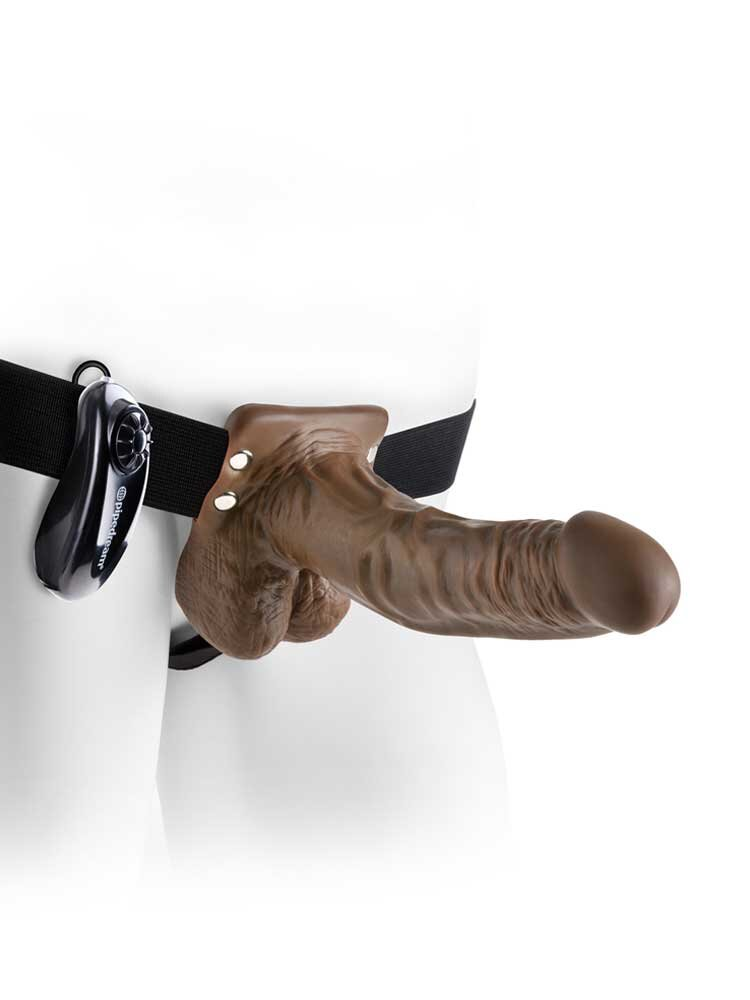 Hollow Vibrating Strap on 19cm Brown with Balls by Pipedream