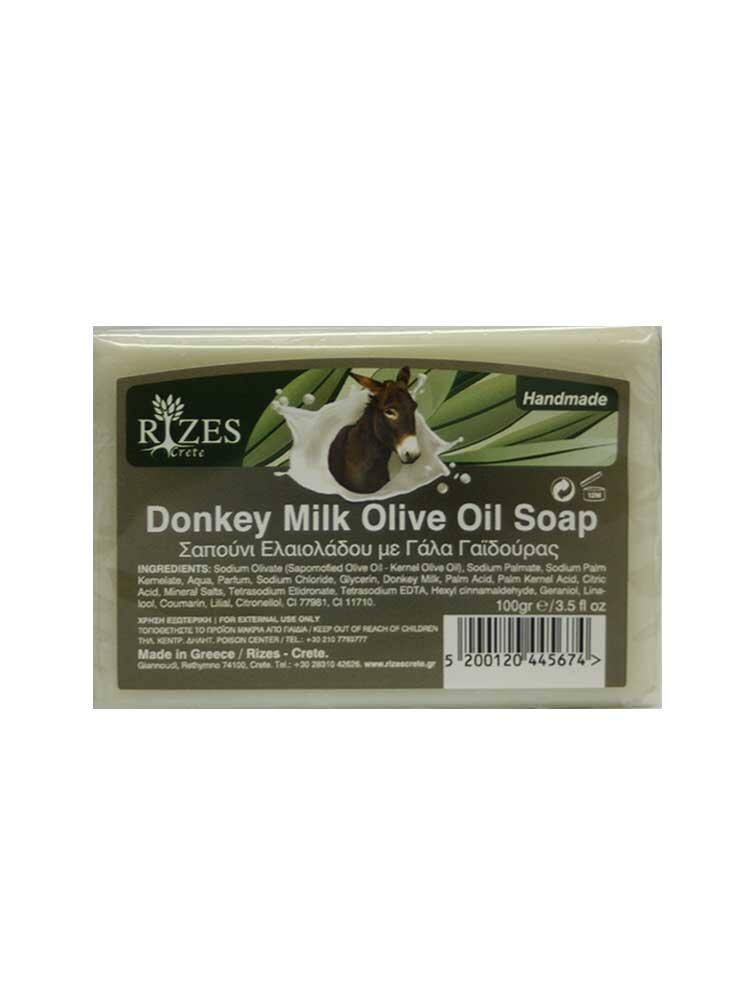 Φυσικό σαπούνι ελαιολάδου με γάλα γαϊδούρας 100gr Rizes Crete