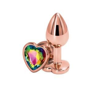 Rear Assets Rose Gold Small Heart Butt Plug by NSNovelties