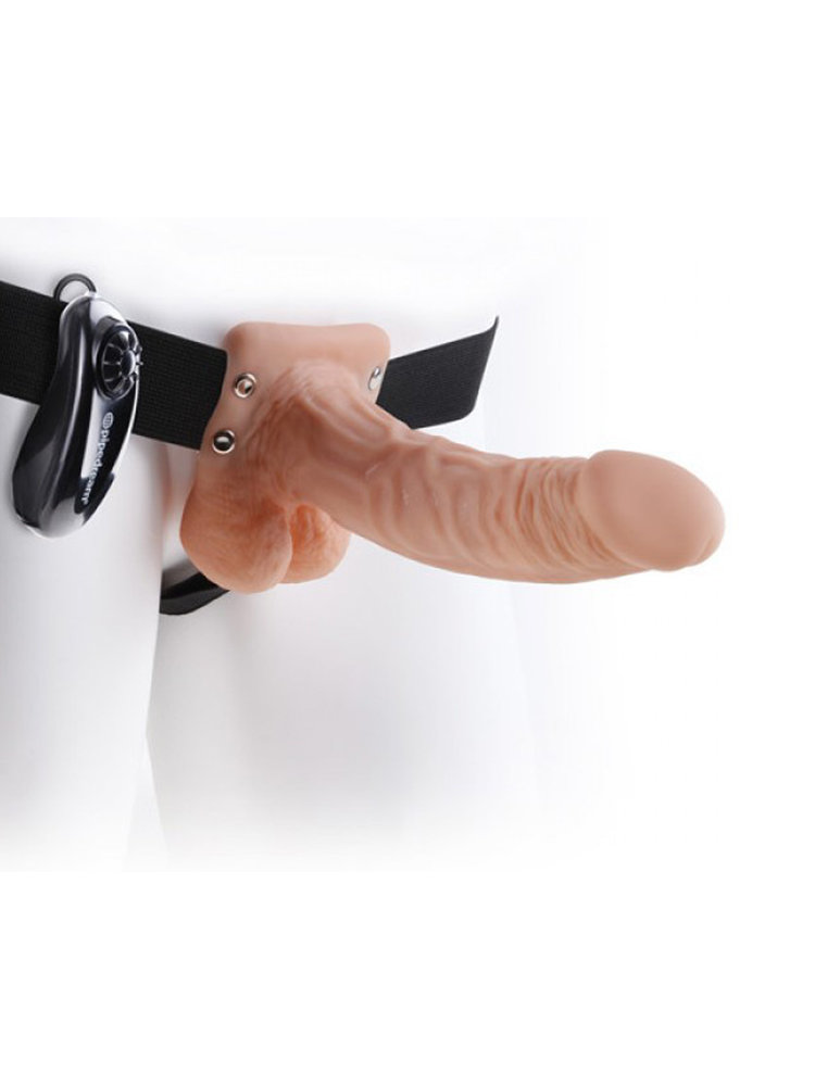 Hollow Vibrating Strap on 19cm Natural with Balls by Pipedream