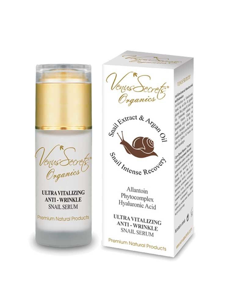 Αντιρυτιδικό Serum με Αργκάν, Υαλουρονικό Οξύ και βλέννη Σαλιγκαριού Venus Secrets Organics